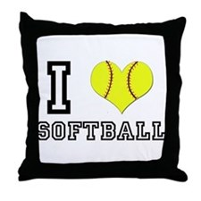 I Heart (Love) Softball Throw Pillow