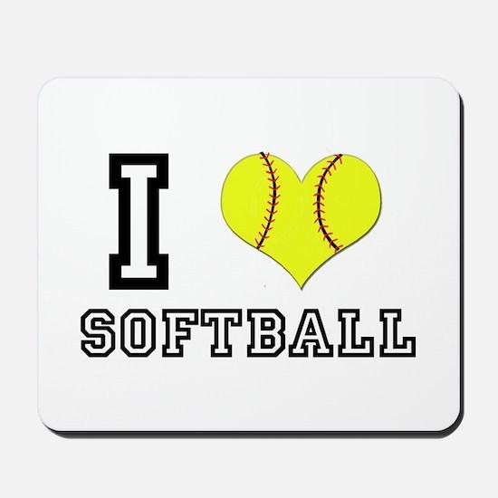 I Heart (Love) Softball Mousepad