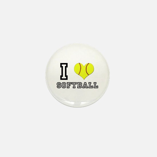 I Heart (Love) Softball Mini Button