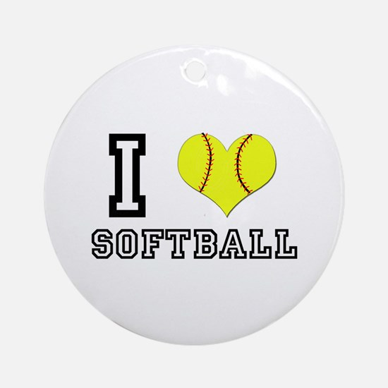 I Heart (Love) Softball Ornament (Round)