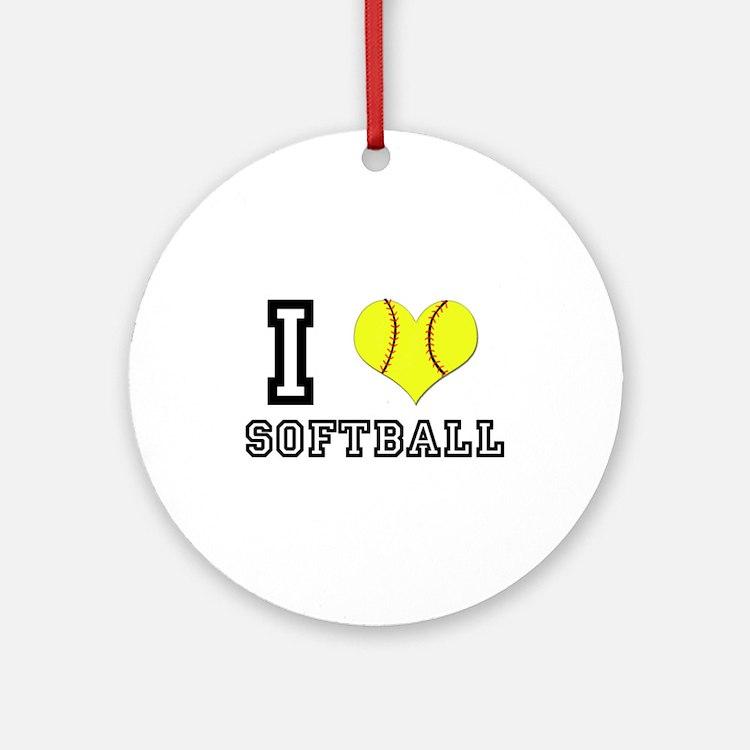 I Heart (Love) Softball Ornament (Round)