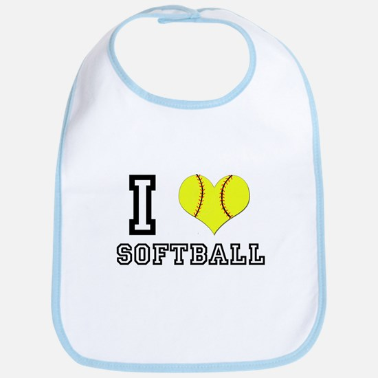 I Heart (Love) Softball Bib