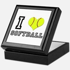 I Heart (Love) Softball Keepsake Box
