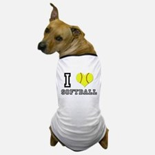 I Heart (Love) Softball Dog T-Shirt