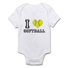 I Heart (Love) Softball Infant Bodysuit