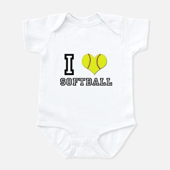 I Heart (Love) Softball Infant Bodysuit