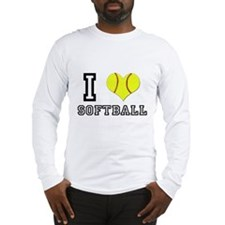 I Heart (Love) Softball Long Sleeve T-Shirt