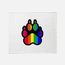 Rainbow Paw Print Throw Blanket