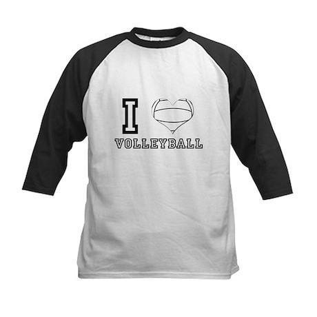 I Heart (Love) Volleyball Kids Baseball Jersey