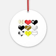 I Heart (Love) Sports Ornament (Round)
