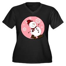 Pink Background Snowman Plus Size T-Shirt