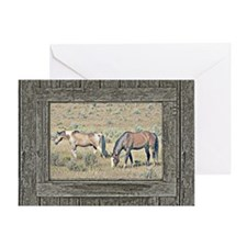 Old window horses Greeting Card