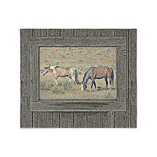 Old window horses Throw Blanket