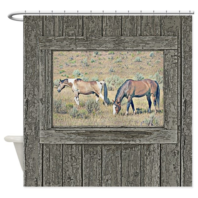 Old window horses shower curtain by saltern for Window horses