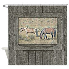 Old window horses Shower Curtain
