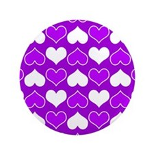 """Purple and White Hearts Pattern 3.5"""" Button"""