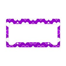 Purple and White Hearts Patte License Plate Holder
