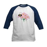 Triplet Bee Pink Flowers Kids Baseball Jersey
