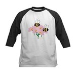 Twin Bees on Flowers Kids Baseball Jersey