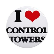 I love Control Towers Ornament (Round)
