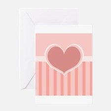 Heart on Stripes Greeting Cards