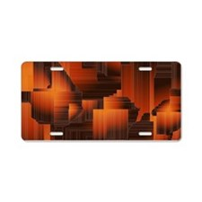 Abstract Burnt Halls Aluminum License Plate