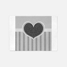 Heart on Stripes 5'x7'Area Rug