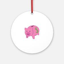 Piggy Bank Ornament (Round)