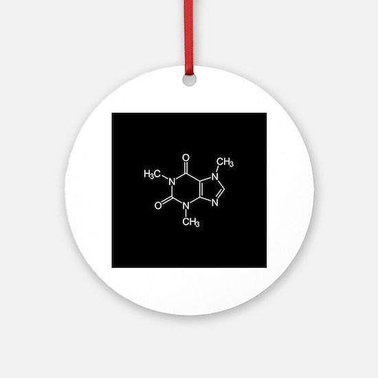 Caffeine Molecule Round Ornament