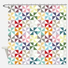 Colorful Geometric Pinwheel Shower Curtain
