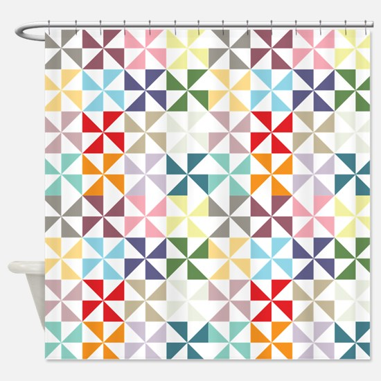 Colorful Geometric Pinwheel Shower Curtain