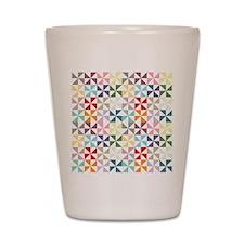 Colorful Geometric Pinwheel Shot Glass