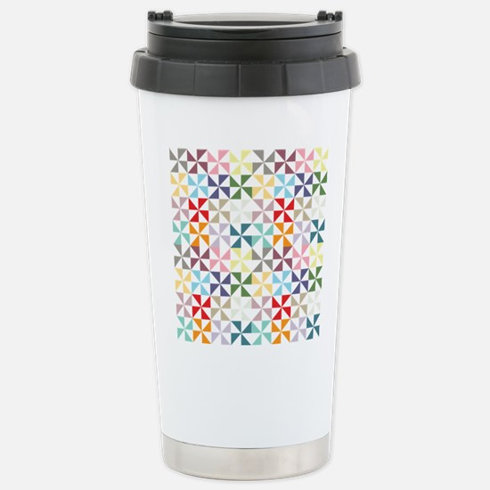 Colorful Geometric Pinwheel Travel Mug