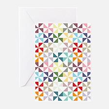 Colorful Geometric Pinwheel Greeting Cards