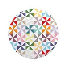 "Colorful Geometric Pinwheel 3.5"" Button (100 pack)"