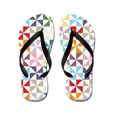 Colorful Geometric Pinwheel Flip Flops