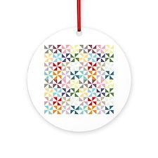 Colorful Geometric Pinwheel Ornament (Round)
