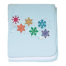 Rainbow Snow Flakes baby blanket