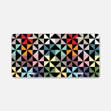 Colorful Pinwheels Black Aluminum License Plate