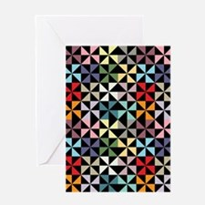 Colorful Pinwheels Black Greeting Cards