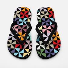 Colorful Pinwheels Black Flip Flops