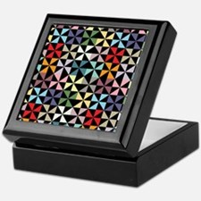 Colorful Pinwheels Black Keepsake Box