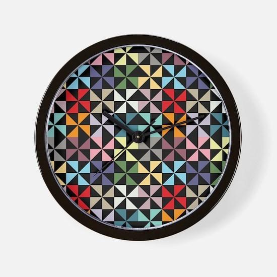 Colorful Pinwheels Black Wall Clock