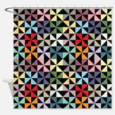 Colorful Pinwheels Black Shower Curtain