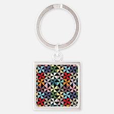 Colorful Pinwheels Black Keychains