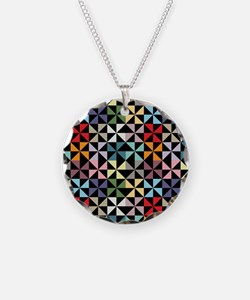 Colorful Pinwheels Black Necklace