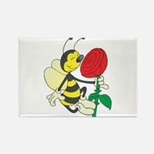 Happy Bee Sniffing A Rose Rectangle Magnet