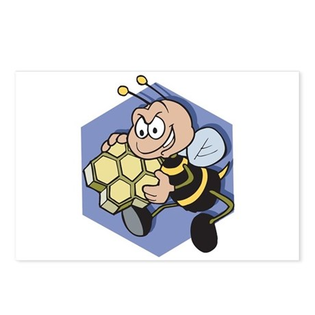 Greedy Bee With Honeycomb Postcards (Package of 8)