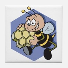 Greedy Bee With Honeycomb Tile Coaster