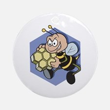 Greedy Bee With Honeycomb Ornament (Round)